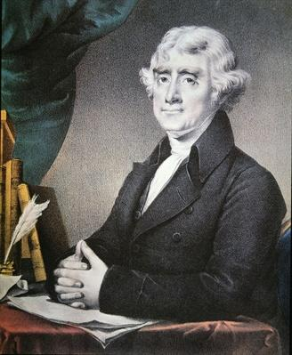 Thomas Jefferson (1743-1826) published by Nathaniel Currier (1813-88) (colour litho) by Stuart, Gilbert (1755-1828) (after)