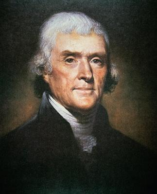 Thomas Jefferson (1743-1826) (colour litho) by Peale, Rembrandt (1778-1860)