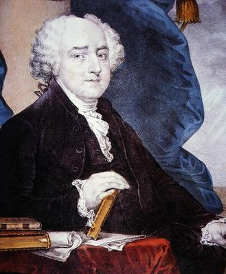 John Adams (1735-1826) published by Nathaniel Currier (1813-88) (colour litho) by Stuart, Gilbert (1755-1828) (after)
