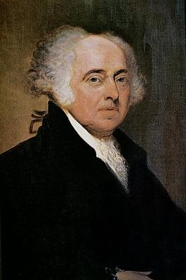 President John Adams (1735-1826) (colour lithograph) by Parker, Edgar (1840-92)