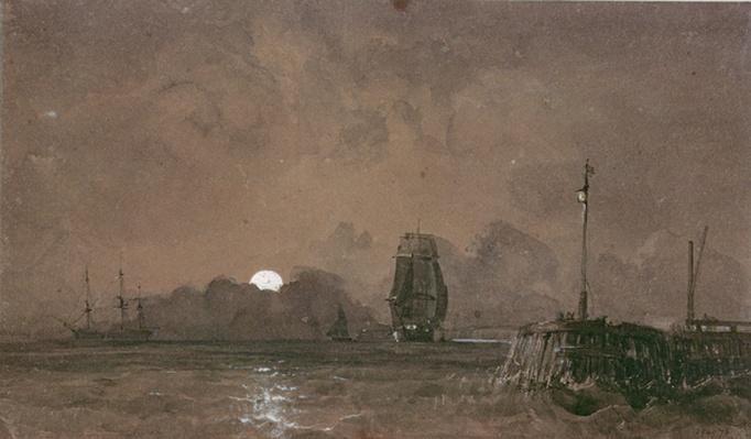 Sunderland Harbour: Moonlight, 19th century