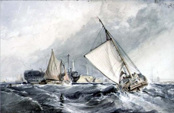 Old Men-of-War at Anchor: boats in a Gale