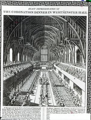 The Coronation Banquet in Westminster Hall, from a book commemorating the Coronation of King William III
