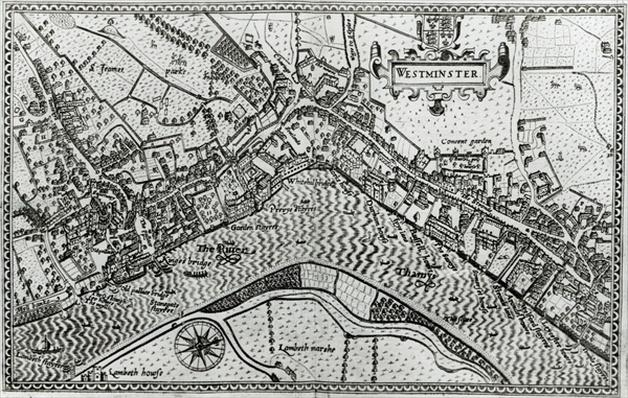 Map of Westminster from 'Speculum Britannia', 1593