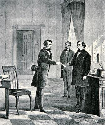 The Impeachment of President Andrew Johnson (1808-75) 1868 (engraving) by American School, (19th century)