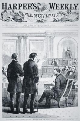 The Impeachment of President Andrew Johnson (1808-75) front page of 'Harper's Weekly' 1868 (engraving) by American School, (19th century)