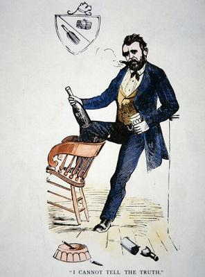Cartoon depicting President Grant (1822-85) as a befuddled drunk (coloured engraving) by American School, (19th century)