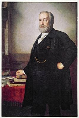 President Benjamin Harrison (1833-1901) election poster, 1888 (colour litho) by American School, (19th century)