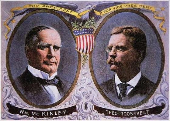 Campaign poster for William Mckinley (1843-1901) as President and Theodore Roosevelt (1858-1919) as Vice-President, 1900 (colour litho) by American School, (20th century)
