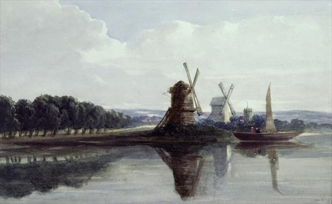 Windmills by a River, 19th century