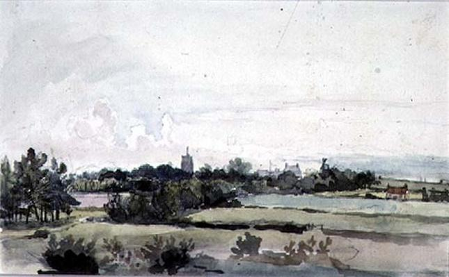 Suffolk Landscape, Fields with a belt of Trees, a Church Tower, Houses and a Windmill