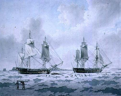 The Ships of Lord Mulgrave's Expedition of Discovery embedded in Ice in the Polar Regions