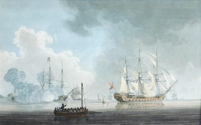 English Ships of War, one firing a Salute