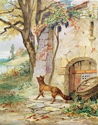 The Fox and the Grapes, illustration for 'Fables' by Jean de La Fontaine by David, Jules (1809-92)