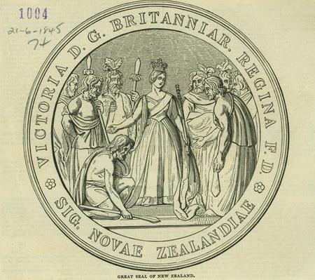 The Great Seal of New Zealand, from 'The Illustrated London News', 21st June 1845
