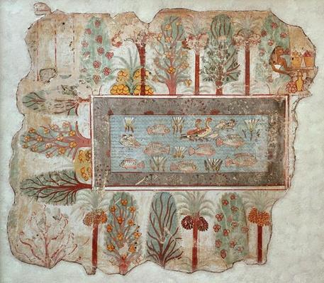 Garden of a private estate with an ornamental pool, part of the wall painting from the Tomb of Nebamun, Thebes, New Kingdom, c.1350 BC