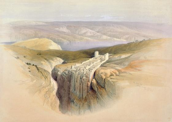 The Dead Sea looking towards Moab, April 4th 1839, plate 50 from Volume II of 'The Holy Land', engraved by Louis Haghe