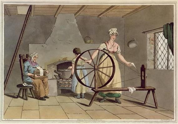 Woman Spinning, from 'Costume of Yorkshire', engraved by Robert Havell