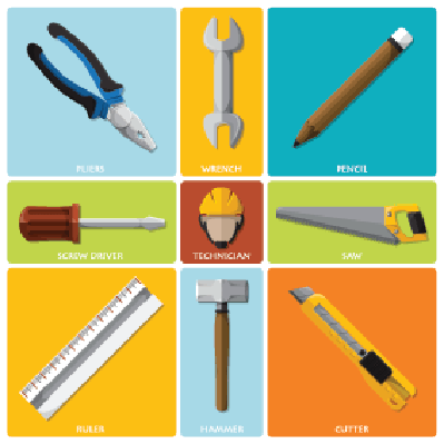 Technician and Equipment Tools Flat Icon Set | Clipart