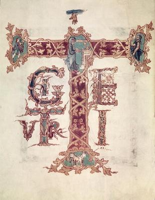 Col Lat 9428 f.15v Initial 'T'; The Ascension of Christ, from the 'Drogo Sacramentary', Carolingian