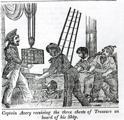 Captain Avery receiving three chests of Treasure on board of his Ship, illustration from 'Book of Pirates' 1837