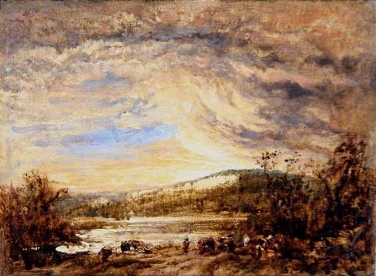 A River Landscape, Sunset