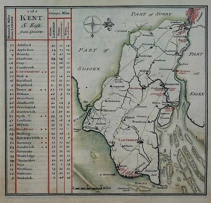 Kent, plate 39r, from 'A Compleat Sett of Mapps of England and Wales in General...', 1724