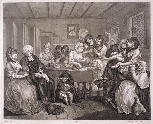 A Harlot's Progress, plate VI, from 'The Original and Genuine Works of William Hogarth', published in London, 1820-22