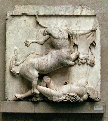 A Centaur triumphing over a Lapith, metope XXVIII from the south side of the Parthenon, 447-432 BC