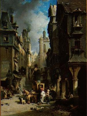 Street Scene at Morlaix in 1830, 1870
