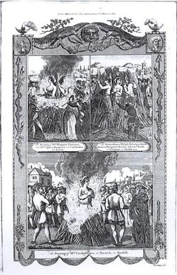 Men and women burned at the stake in 1557, from an edition of 'Acts and Monuments' by John Foxe