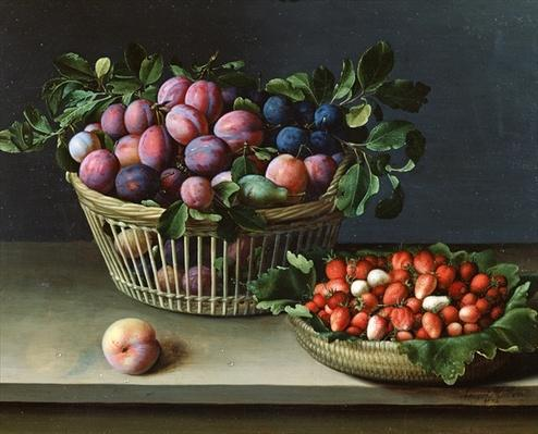 Basket of Plums and Basket of Strawberries, 1632