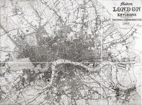 Map of Modern London and its Environs, 1854