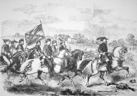 J.E.B. Stuart leading his men on the famous four day ride through enemy territory in June 1862