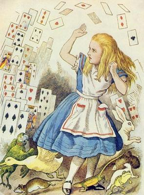The Shower of Cards, illustration from 'Alice in Wonderland' by Lewis Carroll