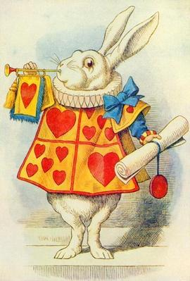 The White Rabbit, illustration from 'Alice in Wonderland' by Lewis Carroll
