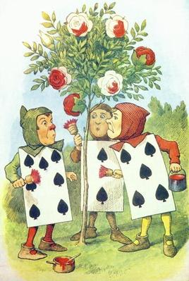The Playing Cards Painting the Rose Bush, illustration from 'Alice in Wonderland' by Lewis Carroll