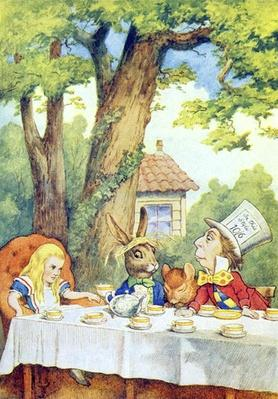 The Mad Hatter's Tea Party, illustration from 'Alice in Wonderland' by Lewis Carroll