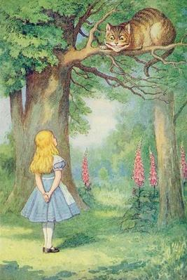 Alice and the Cheshire Cat, illustration from 'Alice in Wonderland' by Lewis Carroll