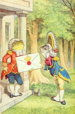 The Fish-Footman Delivering an Invitation to the Duchess, illustration from 'Alice in Wonderland' by Lewis Carroll