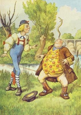 Father William Balancing an Eel on his Nose, illustration from 'Alice in Wonderland' by Lewis Carroll