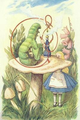 Alice Meets the Caterpillar, illustration from 'Alice in Wonderland' by Lewis Carroll
