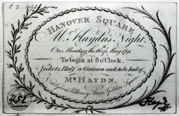 Ticket to 'Mr. Haydn's Night' in Hanover Square, 16th May 1791
