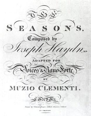 Cover of the score sheet of 'Seasons' by Joseph Haydn
