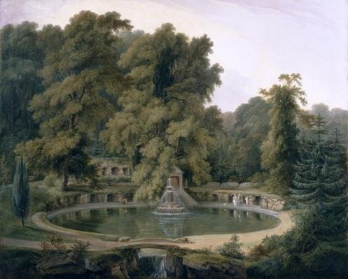 Temple, Fountain and Cave in Sezincote Park, 1819