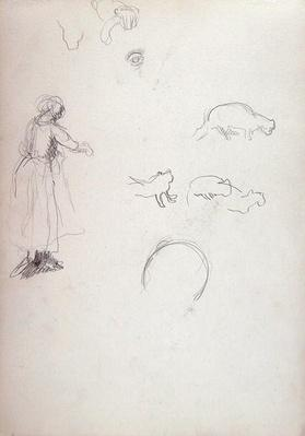 Study of a Woman and Cats, for the Cave of the Golden Calf