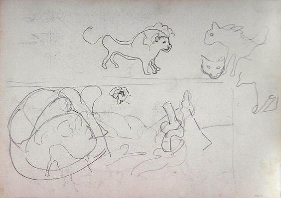 Study of a Animals, for the Cave of the Golden Calf