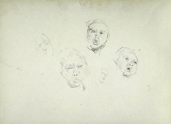 Study of Heads, for the Cave of the Golden Calf
