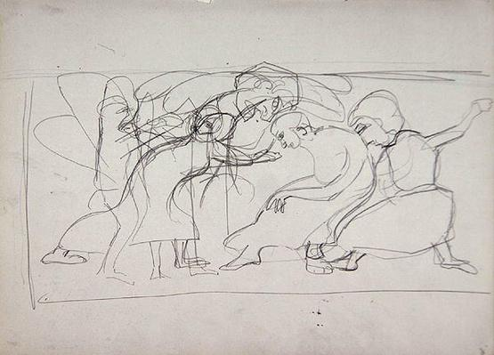 Study for Decorative Panel: Worshippers, for the Cave of the Golden Calf