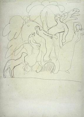 Study of Worshippers and Dancers with Calf, for the Cave of the Golden Calf
